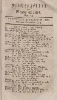 Kirchenzettel der Stadt Elbing, Nr. 39, 3 September 1815
