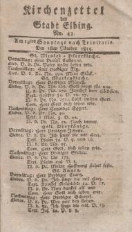 Kirchenzettel der Stadt Elbing, Nr. 43, 1 Oktober 1815