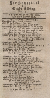 Kirchenzettel der Stadt Elbing, Nr. 5, 25 Januar 1818