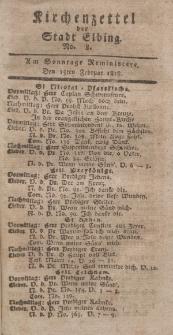 Kirchenzettel der Stadt Elbing, Nr. 8, 15 Februar 1818