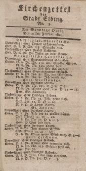 Kirchenzettel der Stadt Elbing, Nr. 9, 21 Februar 1818