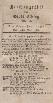 Kirchenzettel der Stadt Elbing, Nr. 13, 20 März 1818