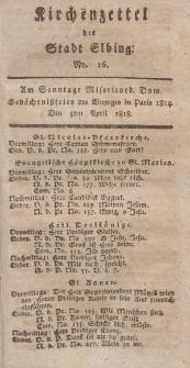 Kirchenzettel der Stadt Elbing, Nr. 16, 5 April 1818