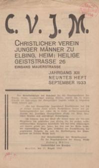 Das Blatt des CVJM, H. 9, Jahrgang XIII