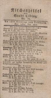 Kirchenzettel der Stadt Elbing, Nr. 25, 24 Mai 1818