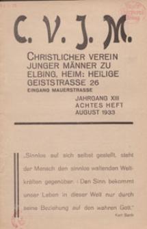 Das Blatt des CVJM, H. 8, Jahrgang XIII