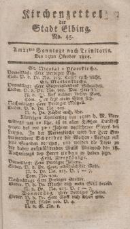 Kirchenzettel der Stadt Elbing, Nr. 45, 15 Oktober 1815