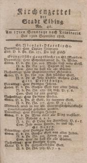 Kirchenzettel der Stadt Elbing, Nr. 41, 13 September 1818