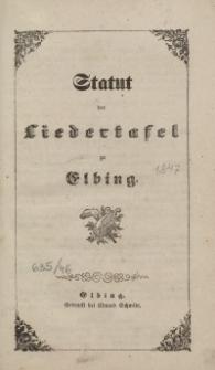 Statut der Liedertafel zu Elbing