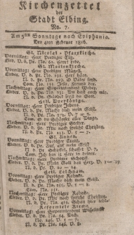 Kirchenzettel der Stadt Elbing, Nr. 7, 4 Februar 1816