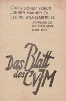 Das Blatt des CVJM, H. 3, Jahrgang XIII