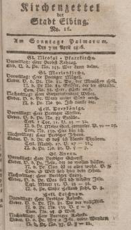 Kirchenzettel der Stadt Elbing, Nr. 16, 7 April 1816