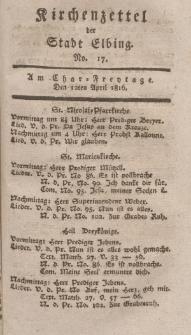 Kirchenzettel der Stadt Elbing, Nr. 17, 12 April 1816