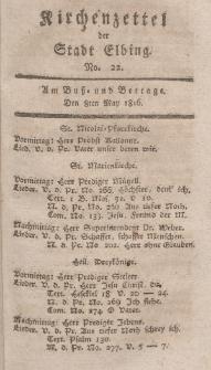 Kirchenzettel der Stadt Elbing, Nr. 22, 8 Mai 1816