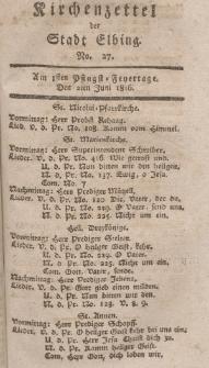 Kirchenzettel der Stadt Elbing, Nr. 27, 2 Juni 1816