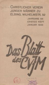 Das Blatt des CVJM, H. 1, Jahrgang XIII