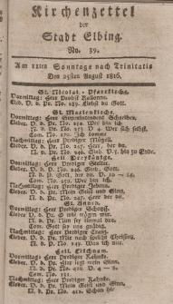 Kirchenzettel der Stadt Elbing, Nr. 39, 25 August 1816