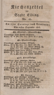 Kirchenzettel der Stadt Elbing, Nr. 43, 22 September 1816
