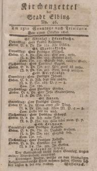 Kirchenzettel der Stadt Elbing, Nr. 46, 13 Oktober 1816