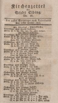 Kirchenzettel der Stadt Elbing, Nr. 48, 27 Oktober 1816