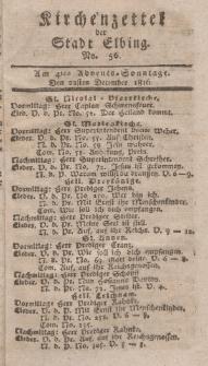 Kirchenzettel der Stadt Elbing, Nr. 56, 22 Dezember 1816