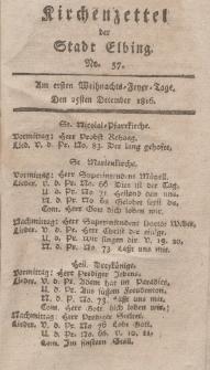 Kirchenzettel der Stadt Elbing, Nr. 57, 25 Dezember 1816