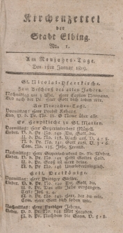 Kirchenzettel der Stadt Elbing, Nr. 1, 1 Januar 1819