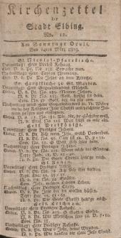 Kirchenzettel der Stadt Elbing, Nr. 12, 14 März 1819
