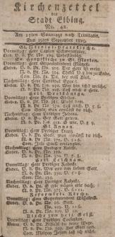 Kirchenzettel der Stadt Elbing, Nr. 42, 19 September 1819