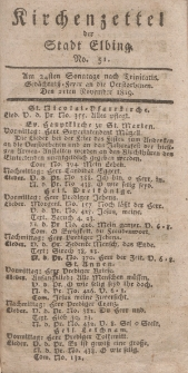 Kirchenzettel der Stadt Elbing, Nr. 51, 21 November 1819