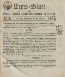 Kreis-Blatt des Königlich Preußischen Landraths-Amtes zu Elbing, Nr. 4 Sonnabend 26 Januar 1861
