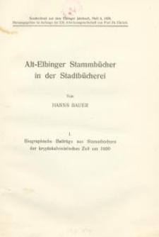 Alt-Elbinger Stammbücher in der Stadtbücherei