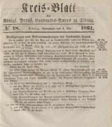 Kreis-Blatt des Königlich Preußischen Landraths-Amtes zu Elbing, Nr. 18 Sonnabend 4 Mai 1861