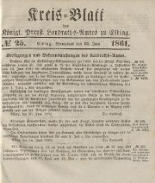 Kreis-Blatt des Königlich Preußischen Landraths-Amtes zu Elbing, Nr. 25 Sonnabend 22 Juni 1861