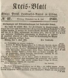 Kreis-Blatt des Königlich Preußischen Landraths-Amtes zu Elbing, Nr. 27 Sonnabend 6 Juli 1861