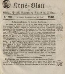 Kreis-Blatt des Königlich Preußischen Landraths-Amtes zu Elbing, Nr. 29 Sonnabend 20 Juli 1861