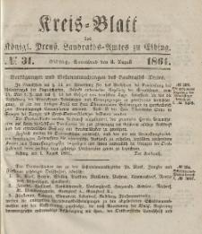Kreis-Blatt des Königlich Preußischen Landraths-Amtes zu Elbing, Nr. 31 Sonnabend 3 August 1861