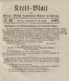 Kreis-Blatt des Königlich Preußischen Landraths-Amtes zu Elbing, Nr. 32 Sonnabend 10 August 1861