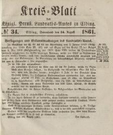 Kreis-Blatt des Königlich Preußischen Landraths-Amtes zu Elbing, Nr. 34 Sonnabend 24 August 1861