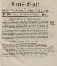 Kreis-Blatt des Königlich Preußischen Landraths-Amtes zu Elbing, Nr. 36 Sonnabend 7 September 1861