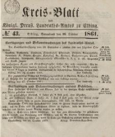 Kreis-Blatt des Königlich Preußischen Landraths-Amtes zu Elbing, Nr. 43 Sonnabend 26 Oktober 1861