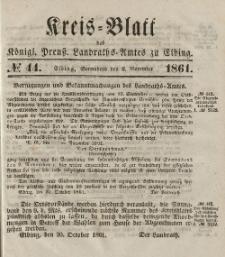Kreis-Blatt des Königlich Preußischen Landraths-Amtes zu Elbing, Nr. 44 Sonnabend 2 November 1861