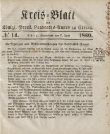 Kreis-Blatt des Königlich Preußischen Landraths-Amtes zu Elbing, Nr. 14 Sonnabend 7 April 1860