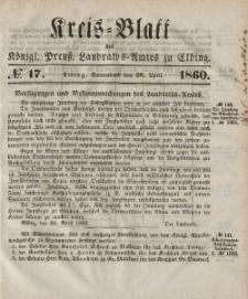 Kreis-Blatt des Königlich Preußischen Landraths-Amtes zu Elbing, Nr. 17 Sonnabend 28 April 1860