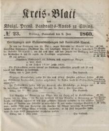 Kreis-Blatt des Königlich Preußischen Landraths-Amtes zu Elbing, Nr. 23 Sonnabend 9 Juni 1860