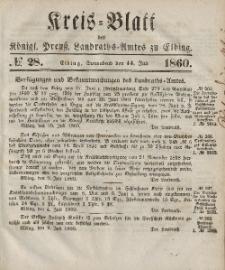 Kreis-Blatt des Königlich Preußischen Landraths-Amtes zu Elbing, Nr. 28 Sonnabend 14 Juli 1860