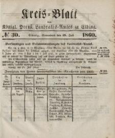 Kreis-Blatt des Königlich Preußischen Landraths-Amtes zu Elbing, Nr. 30 Sonnabend 28 Juli 1860