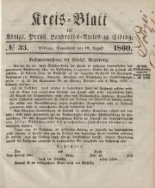 Kreis-Blatt des Königlich Preußischen Landraths-Amtes zu Elbing, Nr. 33 Sonnabend 18 August 1860
