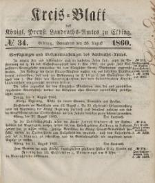 Kreis-Blatt des Königlich Preußischen Landraths-Amtes zu Elbing, Nr. 34 Sonnabend 25 August 1860