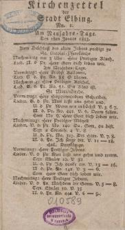 Kirchenzettel der Stadt Elbing, Nr. 1, 1 Januar 1813